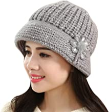 URIBAKE Fashion Women's Crochet Beanie Floral Cotton Knitted Hat Winter Warm Cap Beret Multi Colors
