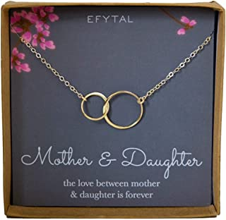 Mother Daughter Necklace, Goldtone Two Interlocking Infinity Circles, Mothers Day Jewelry Birthday Gift