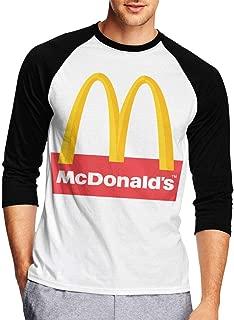 Mens Classic McDonalds- Print Tee T Shirt 3/4 Sleeve Tshirt for Men T-Shirt Crew Neck Clothes