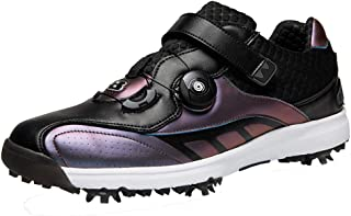 Men's Golf Schoenen, Kleding Spikes Golf Trainers Reflecterende Zelfklevende Draaiknop Ademende Casual Meadow Sneakers,Pur...
