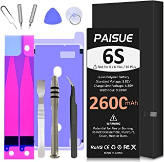 Battery for iPhone 6S, 2600mAh High Capacity Replacement Batteries for A1633, A1688, A1700 with Professional Repair Tool K...