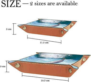 Leather Valet Tray Multi-Purpose storage box Tray Organizer Used for storage of small accessories,whale undersea