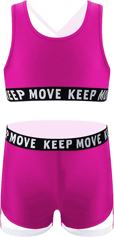 Hansber Kids Girls 2Pcs Hip Hop Dance Tracksuit Outfit Racer Back Crop Top with Bottoms Workout Gym Leotard