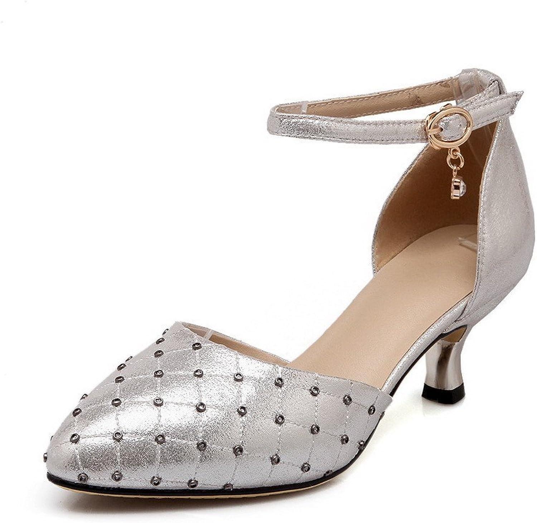 AmoonyFashion Women's Solid PU Kitten Heels Pointed Toe Buckle Sandals