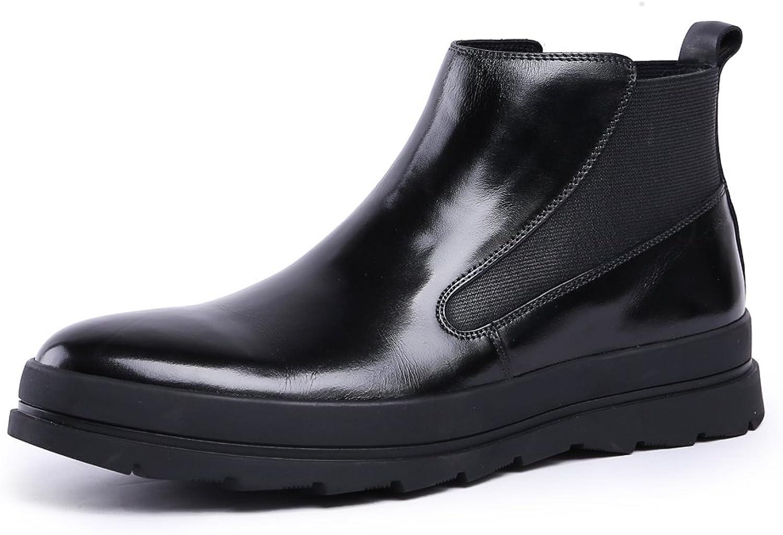 MedzRE Mans svart läder läder läder Elasticerade Insekter Chunky Sole Chelsea stövlar  online mode shopping