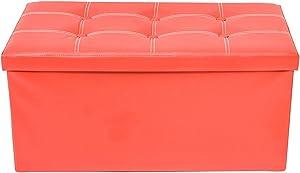Rebecca Mobili Pouf Recipient simili Cuir, Banc de Rangement pliable, Repose-Pieds avec Couvercle Rouge – Dimensions: 38 x 76 x 38 cm (HxLxL) - Art. RE4623