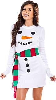 فستان سترة رجل الثلج القبيح للنساء - فستان عيد الميلاد رجل الثلج الأبيض مع وشاح