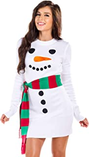 Women's Snowman Ugly Sweater Dress - White Snowman Christmas Dress with Scarf