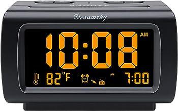 رادیو ساعت زنگ دار DreamSky Deluxe با رادیو FM ، پورت USB برای شارژ ، صفحه نمایش 1.2 اینچ با ضخامت ، نمایشگر دما ، تعویق ، میزان زنگ هشدار قابل تنظیم ، تایمر خواب.