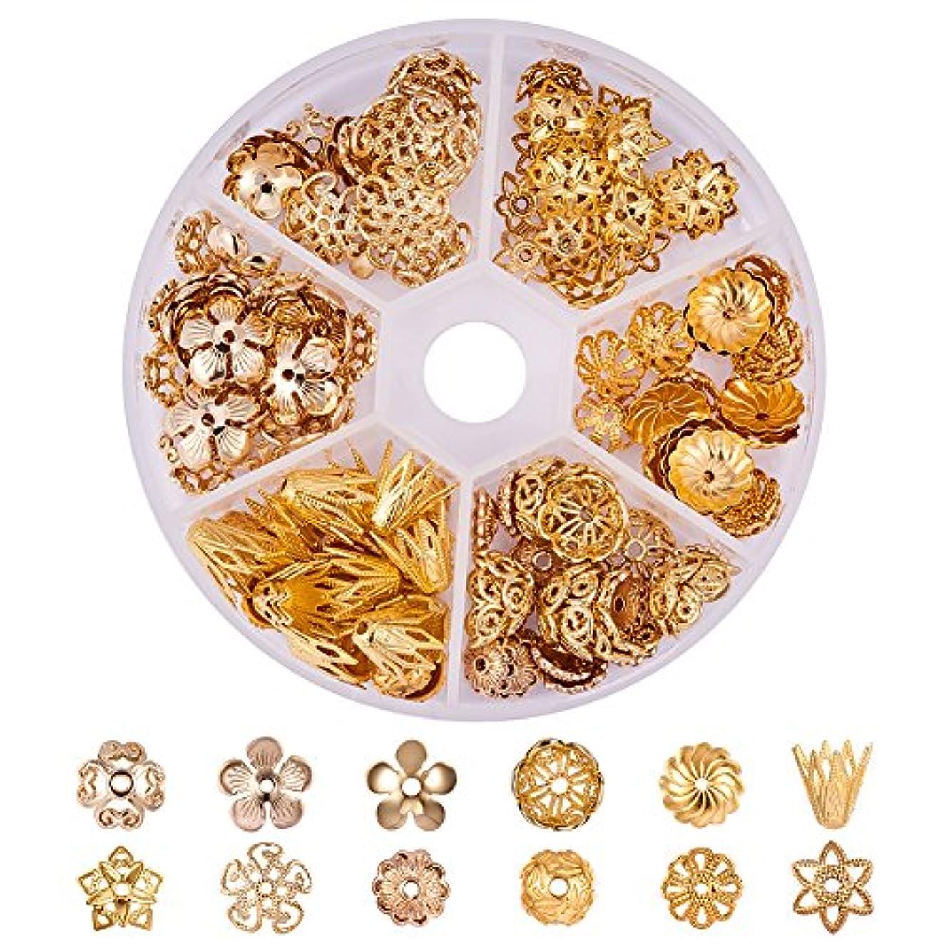 PandaHall Elite About 144 Pcs Brass Flower Bead Caps 12 Styles Jewelry Making Golden