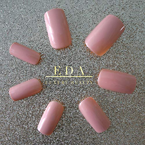 EDA LUXURY BEAUTY NATURAL NUDE PINK LUXE DESIGN Press On Nails Full Cover Acrylic Nail Kit Artificial Nail Tips False Nails Extra Long Ballerina Coffin Square Nail Art Super Fashion Fake Nails