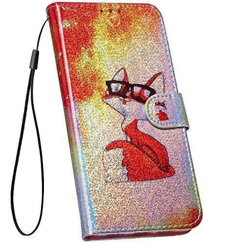 Ysimee Compatible avec Coque Xiaomi Mi A2 Lite/Redmi 6 Pro,Étui Bookstyle Colorée avec Motif Laser Housse Cuir PU Portefeuille Coque Protection avec Fonction Stand Etui à Rabat Flip Case,Renard Rouge