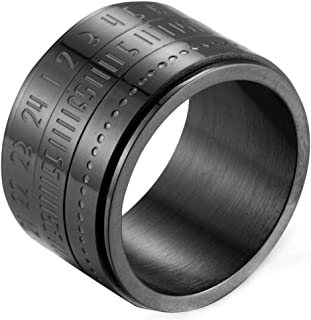 Rotatable Arabic Numerals Time Punk Stainless Steel Rings for Mens
