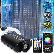 AMKI 16W RGBW Fiber Optic Curtain Light Kit, Flash Point Waterfall Effect Lighting Kids Children Sensory Room Home Decoration 0.03in/0.75mm 9.8ft/3m 300pcs