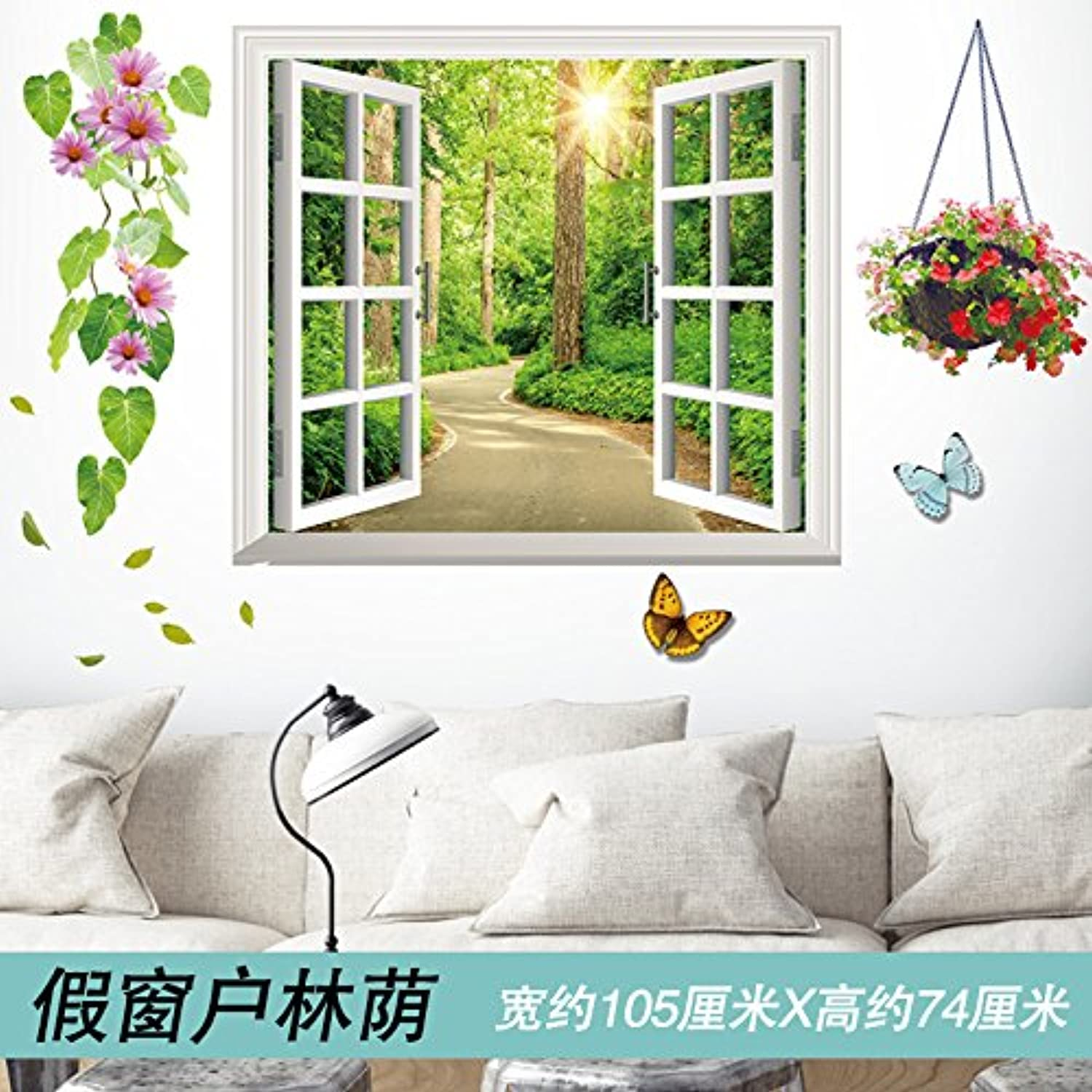 Znzbzt Creative Living Room Wall Decoration Wall Sticker Art Bedroom Wallpaper self Adhesive, Window View
