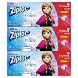 Ziploc Brand Slider Storage Bags Featuring Disney Frozen Designs, Quart, 30 ct, 3 Pack