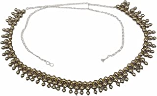 Antique Oxidised White Metal Silver Plated Kamarband/Bellychain/kamarpatta/ottiyanam/vaddanam/Waist Hip Belt -Silver Ball