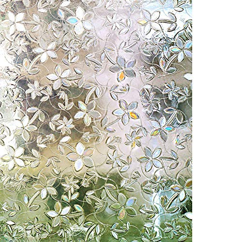 rabbitgoo 3D Decorative Privacy Window Film No Glue Static Translucent Glass Film Removable Window Cling for Home, Office, Kitchen, Living Room, Meeting Room 35.4 x 78.7 Inch (Not for Bathroom)