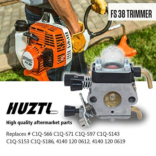 HUZTL C1Q-S97 Carburetor for STIHL FS38 FS45 FS46 FS55 KM55 HL45 FS45L FS45C FS46C FS55C FS55R FS55RC FS85 FS80R FS85R FS85T FS85RX String Trimmer Weed Eater with Air Filter Fuel Line Kit