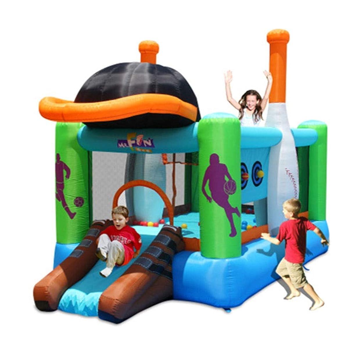 ホイスト一偉業ボーイズアンドガールズアミューズメントパーク 屋内と屋外のスライドおもちゃ 大きな弾力がある城 マルチプレイヤーインフレータブルトランポリン 体力 リビングルームの芝生 城 (Color : Green, Size : 427*246*283cm)