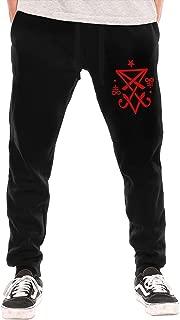 BibiQQgait Mens Jogger Sweatpants Occult Sigil of Lucifer Satanic Close Bottom Fleece Pants