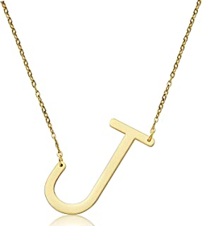 malyunin Sideways Initial Necklace Script Name Alphabet A-Z Large Letter Necklace Birthday Gifts for Women Girls