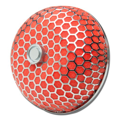 3 inches Inlet x 4 inches Air Intake Mushroom Style Hexagon Mesh Air Filter (Red)
