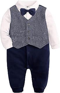 TTLOVE_Baby Jungen Strampler Neugeborenes Säugling Smoking Anzug Langarm Gentleman Fliege Bodysuit Taste Runter Overall Kleidung Für 0-24 Monate