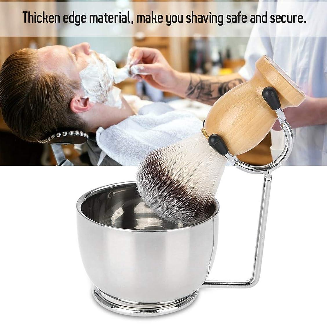 まどろみのあるありそうアリブラシスタンド,シェービングブラシ耐久性と実用性ひげ剃りセット プロフェッショナルステンレススチールボウルスタンドブラシの口ひげシェービングツール