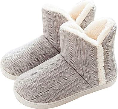 GILKUO Knit Slipper Boots Women Men Fleece Lined Warm Winter Booties Hard Sole