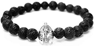 Roman Knight Spartan Warrior Gladiator Helmet Bracelet Men Black Stone Lava Bead Bracelets For Men Jewelry