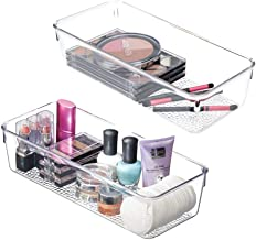 mDesign Plastic Drawer Organizer Storage Tray Bathroom Vanity, Countertop, Cabinet - Holds Makeup Brushes, Eyeliner, Lip P...
