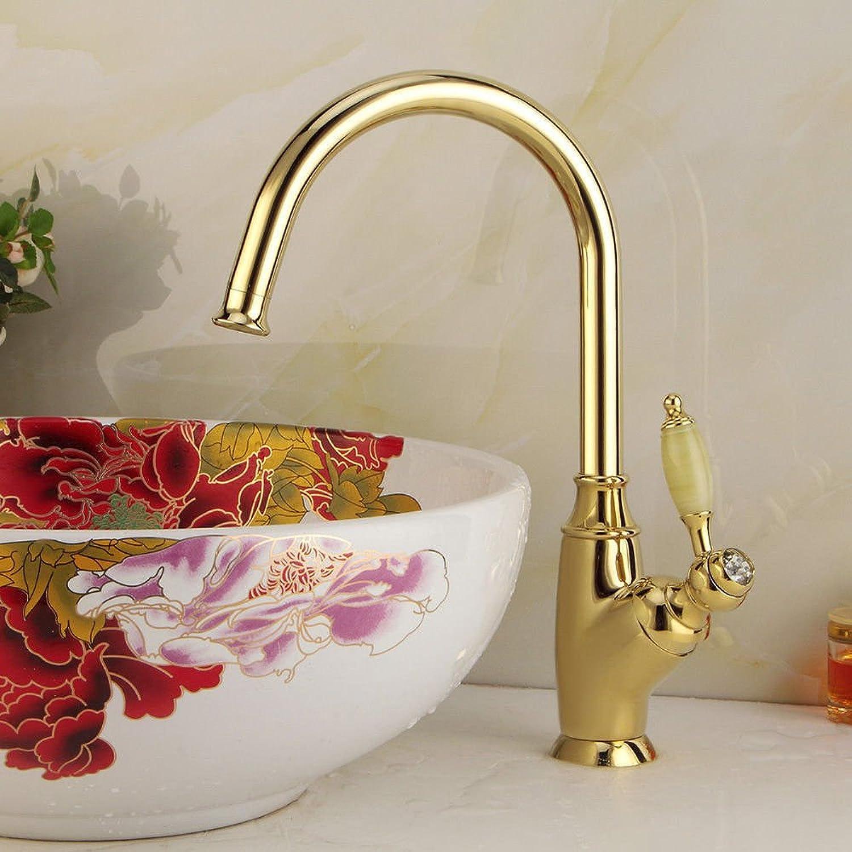 QIMEIM Waschtischarmatur Wasserhahn Bad Waschtisch Messing Jade einzelnen Hebel 1 Bohrung Badenzimmer Waschbeckenarmatur