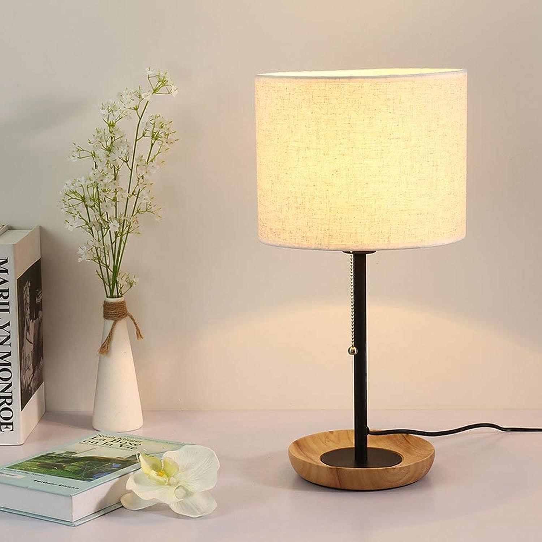 XXIONG Nordische Moderne Lampe Klassische Hlzerne Nachttischlampe Warme Romantische Restaurant Lampe Schlafzimmer Tischlampe, E27(Nicht enthalten) (Wei)