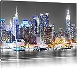 ville de New York dans la nuit blanc / noir Taille: 80x60 sur toile, XXL énormes Photos complètement encadrée avec civière, impression d'art sur murale avec cadre, moins cher que la peinture ou la peinture à l'huile, pas une affiche ou une bannière,