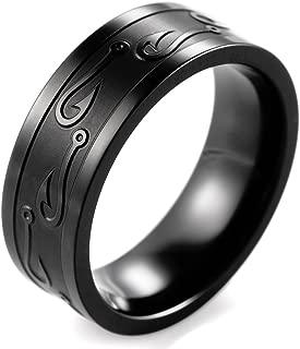 Men's 8mm Black Titanium Ring with Engraved Fishhook
