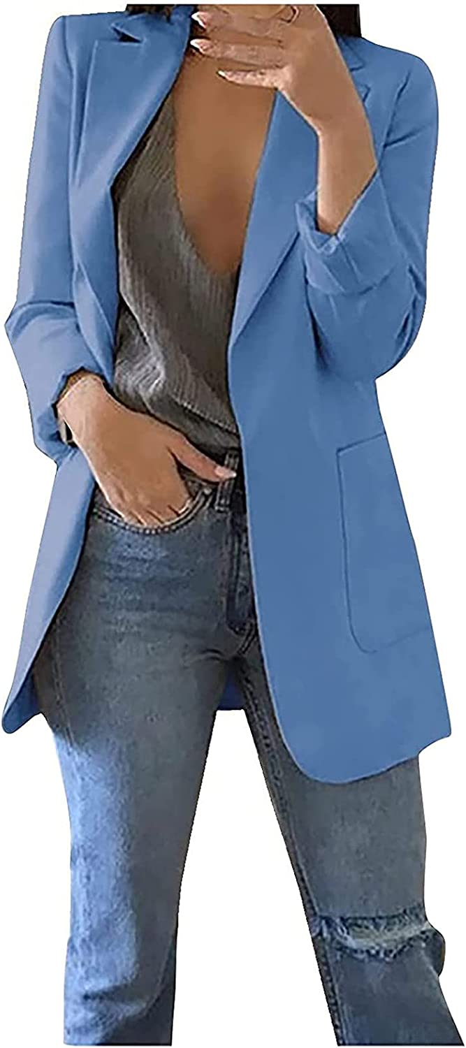 Women Suit Long Sleeve Cropped Blazers Buttonless Notched Business Blazer Jacket Cardigan Tops