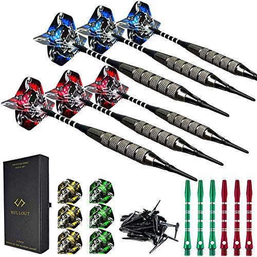 Bullout Soft tip Darts Set with Case - Plastic Tip Dart Sets 18 Grams - 12 Aluminum Shafts with O'rings - 12 Skull Flights (Standard) and Extra 60 Tips for Electronic Dart Board