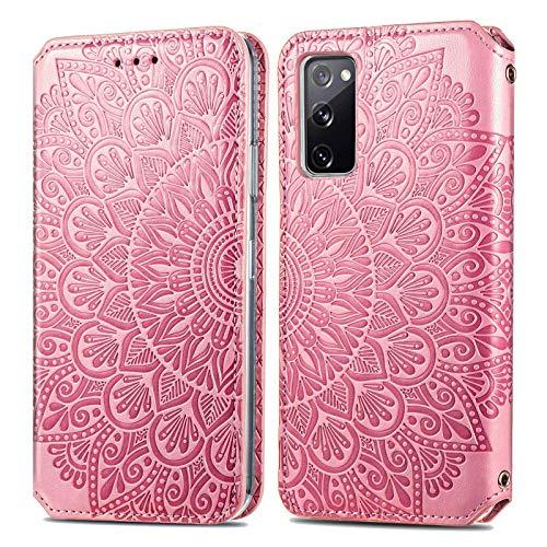 KKEIKO Hülle für Galaxy S20 FE/Galaxy S20 Lite, PU Leder Brieftasche Schutzhülle für Samsung Galaxy S20 FE/Galaxy S20 Lite, Prägung Klapphülle mit Kartenfächer & Stand Funktion - Rosa