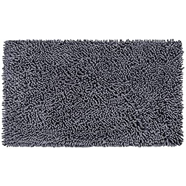 VDOMUS Soft Microfiber Shag Bath Rug, Extra Absorbent Comfortable, Anti-slip,Machine-Washable Large Bathroom Mat, 32  x 20 , Grey