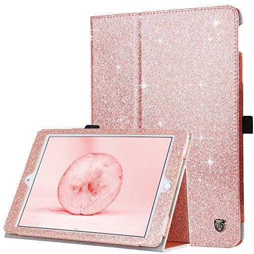 BENTOBEN iPad Air 2 Case, iPad 6th Generation Case, iPad 5th Gen Case,Folio Folding Stand Auto Wake/Sleep with Pencil Holder Glitter PU Leather Cover for iPad Air 2/Air 1, iPad 9.7 2018/2017,Rose Gold