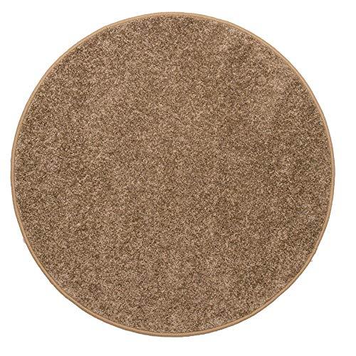 Misento Shaggy hoogpolig tapijt Ø100 cm taupe