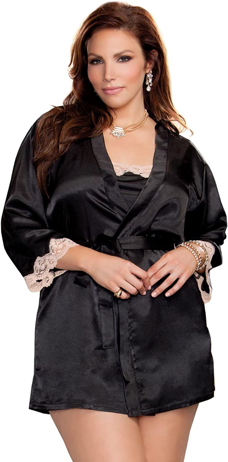 ICollection Lingerie Womens Plus Size 3 4 Sleeve Satin Robe with Lace Cuffs Pajama Top