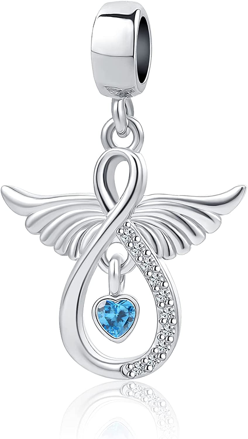 NanMuc Angel Wings Infinity Blue Heart Crystal Women Beads Charms for Charm Necklace Bracelets Girls
