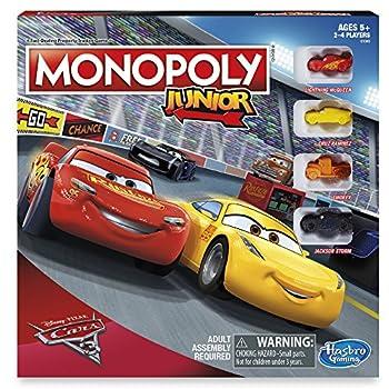 Monopoly Junior  Disney Pixar Cars 3 Edition