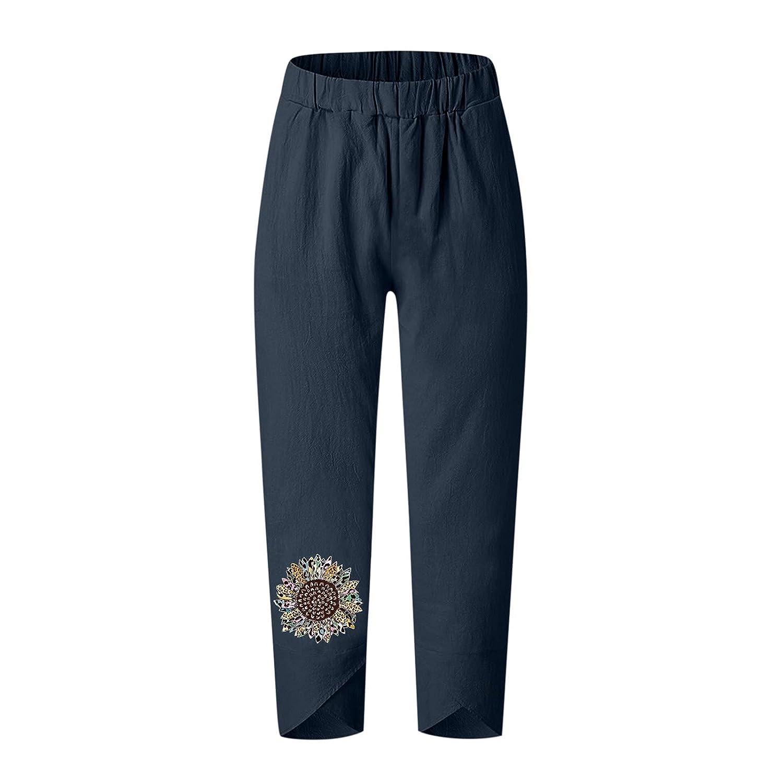 Pole-Trees Women Summer Dandelion Printed Cropped Trousers Solid Casual Beach Pants Elastic Waist Harem Pants