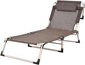 LI JING SHOP - Einfaches Falten-Chaiselongue-einzelnes Büro-Haar-Bett-Strand-Stuhl klein und leicht ( Farbe : Braun )