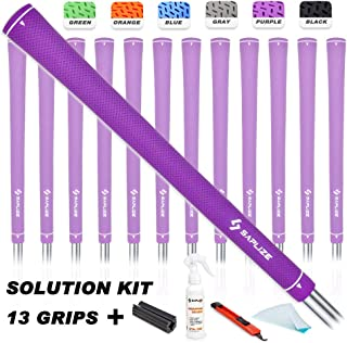 SAPLIZE Golf Grips, 13 Grips with Solvent,Tapes,Vise Clamp and Hook Blade, Standard/Mid Size, Black/Orange/Purple/Grey/Green/Blue, CC02S Rubber Golf Club Grips