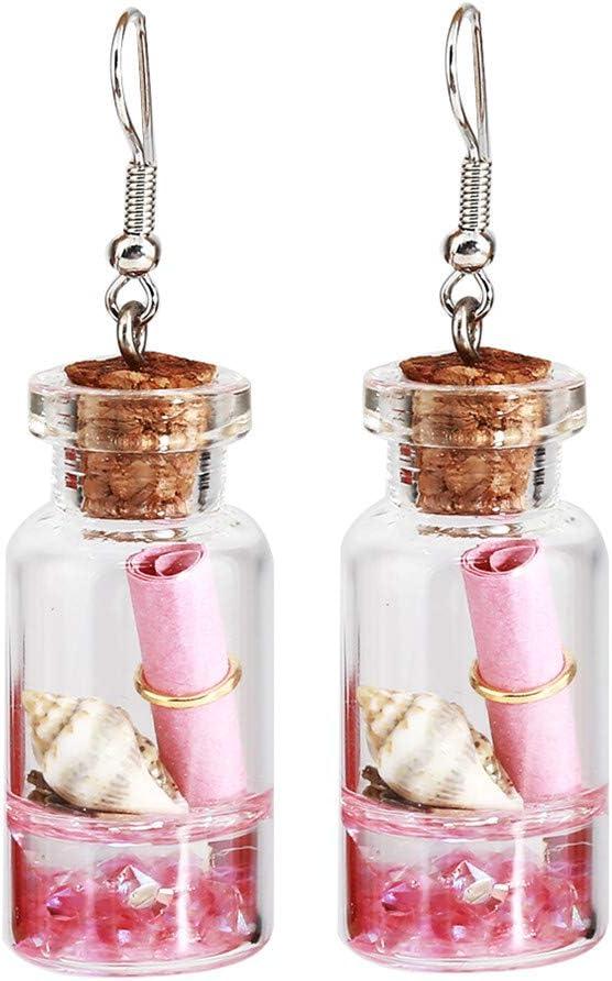 Huangyong Drift Bottle Earrings Glass Artificial Wishing Bottle Flower Clip on Earring,Pink