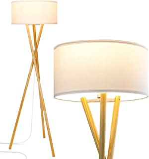 Brightech Harper LED Tripod Floor Lamp - Wood, Mid Century Modern Light for Contemporary Living Rooms - Tall Standing, Rustic Lamp for Bedroom, Office, Kids Room